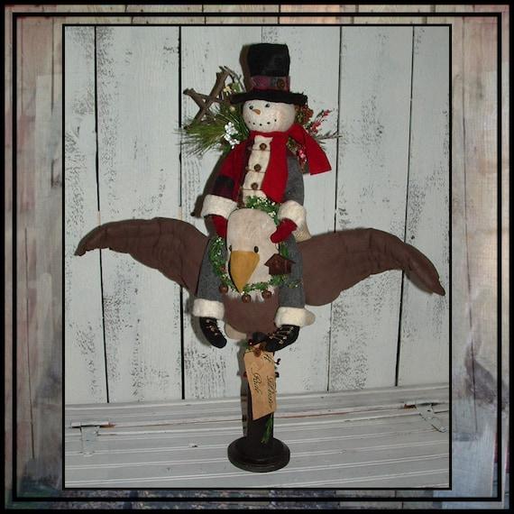 Primitive folk art soft scupture snowman doll riding bald eagle make do HAFAIR OFG faap