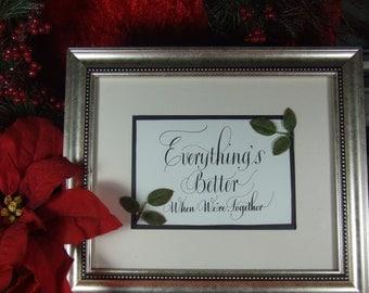 Framed Calligraphy gift for Fiance Husband Wife Partner Girlfriend Boyfriend Bride or Groom