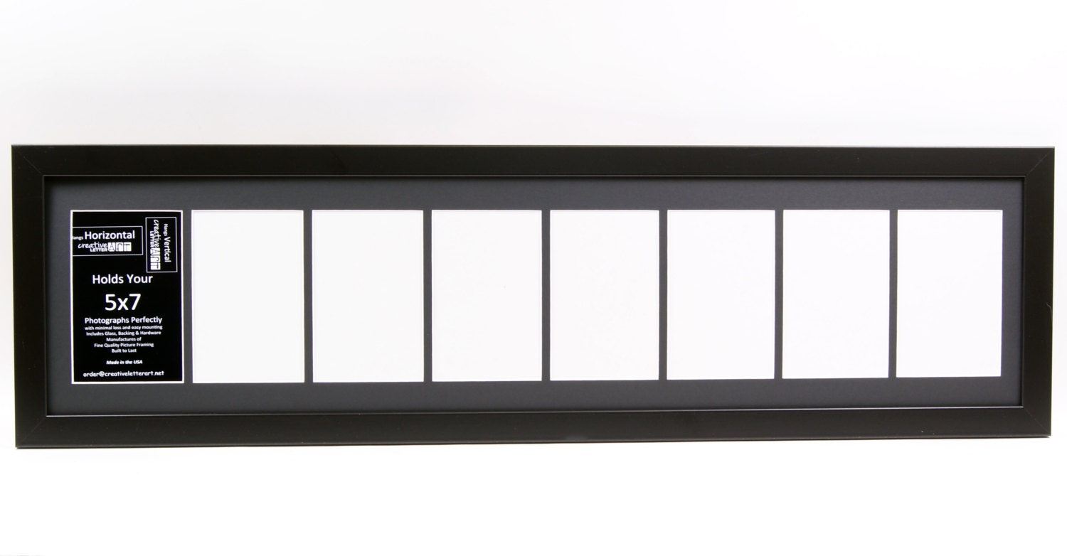 5x7 Black 8 Opening Picture Frame With 10 By 40 Inch