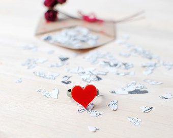 Red Heart Ring | Valentines Gift | Nickel Free Studs