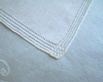 Linen Hankie with Super Fine Hemstitching Vintage Handkerchief