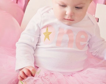 First Birthday Shirt ~ Birthday Girl Shirt ~ Twinkle Twinkle Little Star ~ Pink and Gold Birthday ~  Pink 1st Birthday ~ Cake Smash shirt