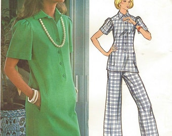 1970s Lanvin Womens Straight Shift Dress or Tunic and Pants Vogue Paris Original Sewing Pattern 2847Size 14 Bust 36 UnCut Label Included