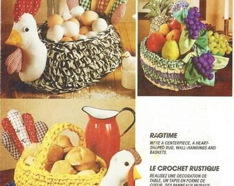 90s Ragtime Rag Crochet Basket Rag Crochet Wall Hangings & Rug McCalls Crafts Sewing Pattern 6610 UnCut