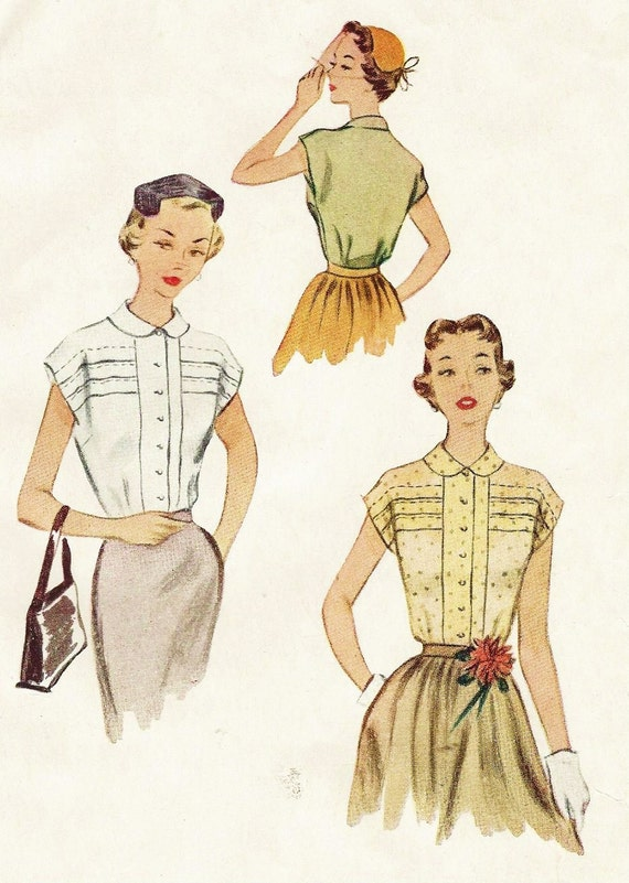 1950s womens blouse button front peter pan collar mccalls for Peter pan shirt pattern