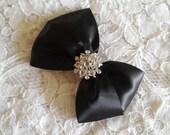 Black Satin Hair Bow with Rhinestone Center, Flower Girl Hair Bow, Holiday Hair Bow, Christmas Hair Bow Sparkle, Black Pageant Hair Bow