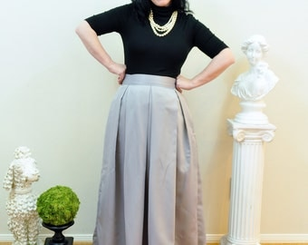 Grey Duchess Satin Ball Skirt long full pleated and gathered Full Length Gray Maxi skirt