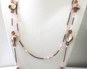 Fall Necklace Shell Blush Pink Brown Pearl 2 Tier