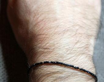paris nights mens bracelet - mens black and gold very very small bead bracelet - Maria Helena Design