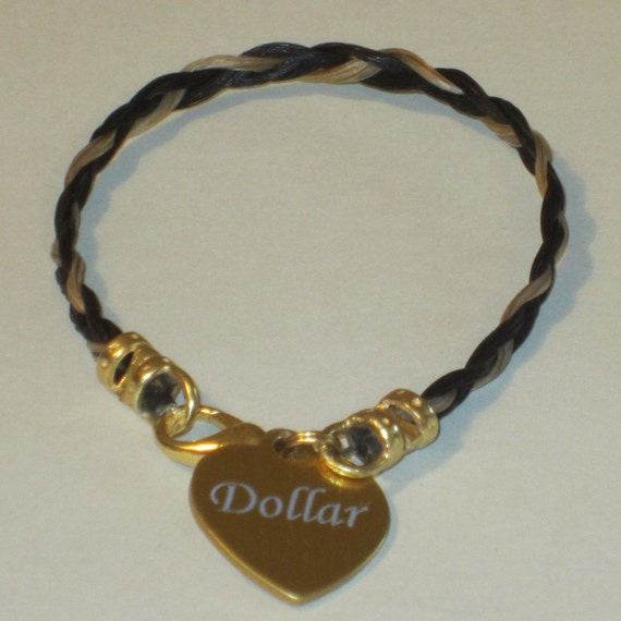 Ponylocks Custom Horsehair Jewelry Home: Horse Hair Bracelet With Custom Engraved Heart-shaped By