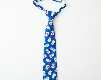 Boys Winter Tie - Blue with Snowmen - Boys Christmas Tie