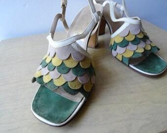 VINTAGE FERRAGAMO SHOES|Vintage Rosina Ferragamo Leather Sandals|Ferragamo Leather and Suede Sandals\Size 6 Designer Leather Sandle
