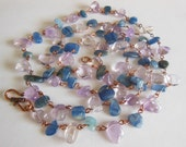 Blue Sky and lilac on copper handmade Necklace 694