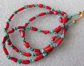 Red  Coral on Turquoise necklace 735