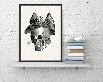 Mrs skull collage  Print - Science prints wall art- Anatomy prints wall decor WSK022