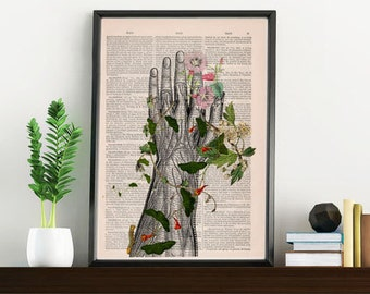 Summer Sale Human hand with flowers Anatomy Print on dictionary Anatomy art, love art, human art, wall decor art print SKA092