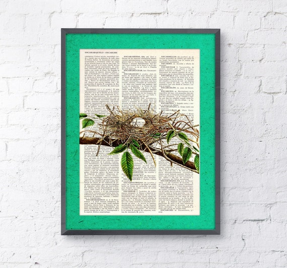 Summer Sale Cute Bird nest 5 print on Book page  Nest with white eggs Animal Wall Decor Wall hanging gift. Giclee print  ANI050