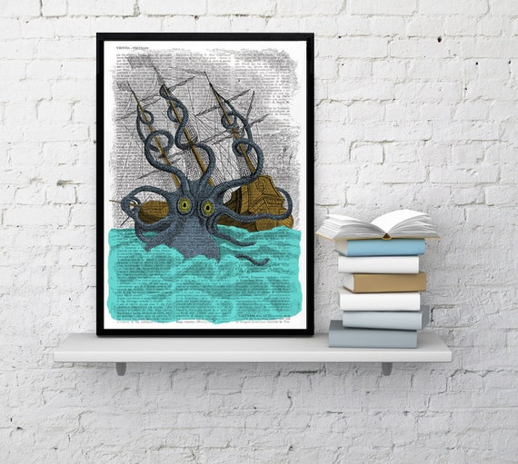 Colorful Giant Sea Monster Kraken Octopus Art Print on Vintage  Dictionary page, art home decor, nursery octopus print, Poster print BPSL078