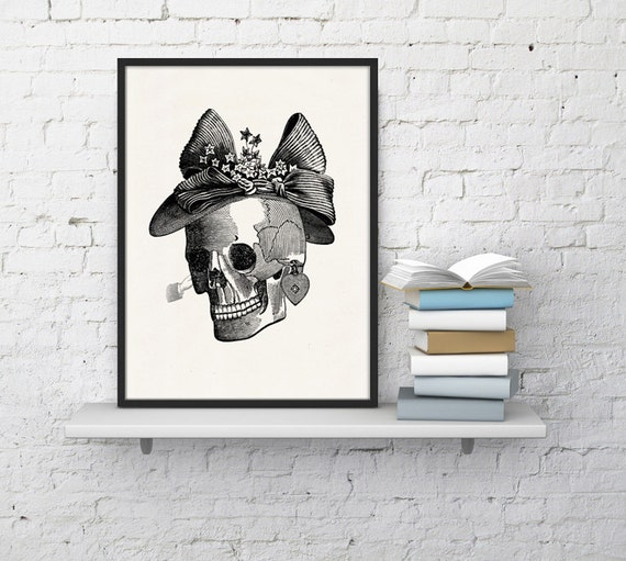 Mrs skull collage  Print - Science prints wall art- Anatomy prints wall decor WSK022