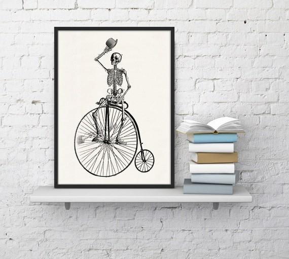 Wall art Skeleton on a bike. Funny  Skeleton Print - Anatomy skeleton Art -collage Anatomy print Boyfriend gift SKA014WA4