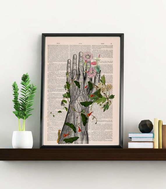 Human hand with flowers Anatomy Print on dictionary Anatomy art, love art, human art, wall decor art print SKA092