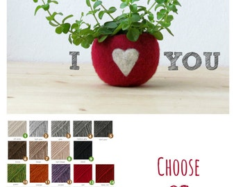 Felt succulent planter / Valentine gift / felted bowl / Love pod / red with a heart / CHOOSE your color!