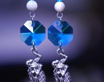 Blue Mermaid Siren, Sirenia, Earrings, Crystal Blue Ocean Mermaid Earrings, Fantasy Earrings