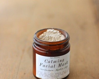 Calming Clay Face Mask, Kaolin and Bentonite Clay Facial Mask with Cardamom, Chamomile and Fenugreek, Organic Face Care, 1oz