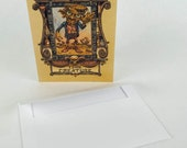steampunk art card greeting card fantasy Frankenstein illustration brown blue