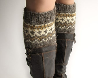 Size S - Hand Knitted Patterned Fair Isle Boot Cuffs - Boot Toppers, Leg Warmers - 100% Natural Wool