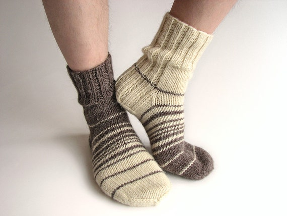 Asymmetrical Striped Hand Knitted Socks - 100% Natural Organic Autumn Winter Clothing