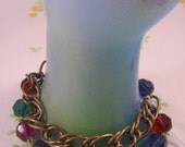 Raspberry Bracelet, Brass Chain and Vintage Lucite Beads