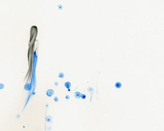 Modern Minimalist Painting Fine Art Abstract Print of my Original Modern Minimalist Painting of a Girl Sad Painting of a Girl Blue Wall Art