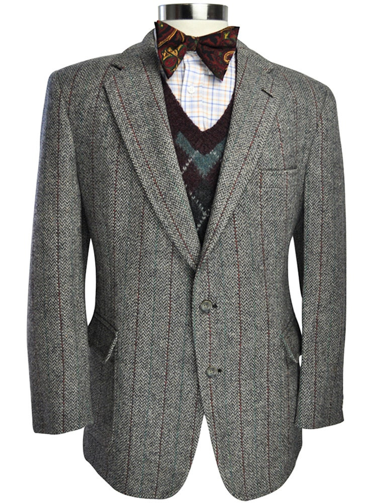 46 Short Harris Tweed Jos A Bank Herringbone Striped Blazer