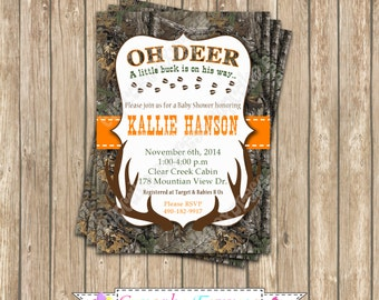 Camo baby shower Boy deer Hunting Birthday Party  PRINTABLE Invitation 5x7  camouflage orange realtree