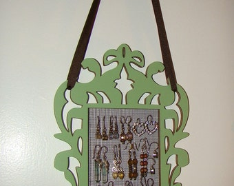 Earring Organizer Hanging Earring Holder Earring Display   ' Miss Bombay' (Green)