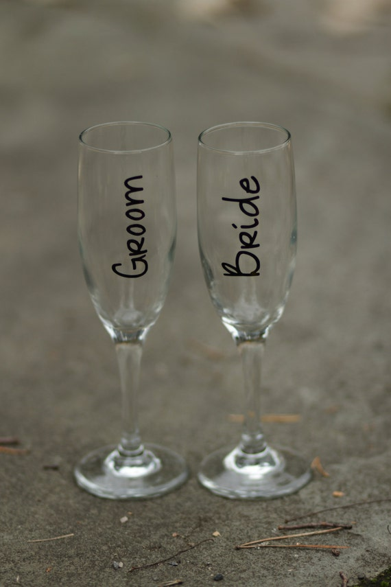 Items Similar To Wedding Toasting Flutes For Bride And