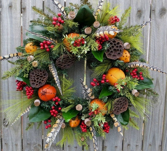Williamsburg Christmas Decorating Ideas: Fruit Holiday / Christmas Wreath Williamsburg Style