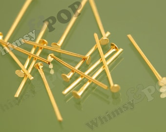 Gold-Plated Alloy Head Pins Headpins, 21 Gauge Brass Gold Head Pins, 18mm x 0.7mm (R4-124)