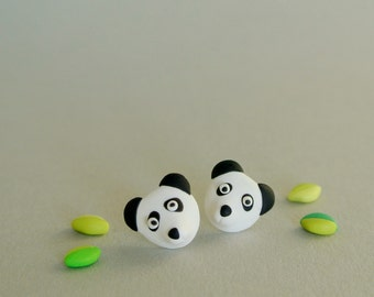 Giant panda post earrings - Animal jewellery - Gift for women and girls - Nature inspired studs - endangered animals