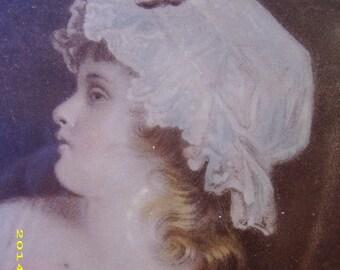 Vintage Original Framed Child Girl Bonnet Print Picture Wall Hanging