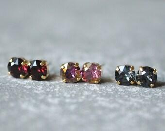 Bordeaux Burgundy Mauve Gray Bridesmaid Earrings Set of Three Studs Swarovski Crystal 8mm Earrings Set Jewel Tone Bridesmaid Gift Wedding