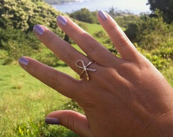 Gold Ribbon Ring, Breast Cancer Awareness, Hammered, Handmade Maui, Simple Band, Gift Idea For Her, Survivor, Rings