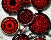 """Glowing Red Mandala - Digital Collage Sheets CG-882 - 1.5"""", 1.25"""", 30mm, 1"""" & 25mm circles Printable Images - Jewelry Making, Bottle Caps"""