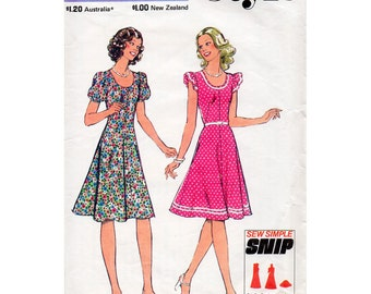 1970s Flared Dress Pattern Style 1133 Vintage Sewing Pattern Bust 34 Kawaii Fit & Flare Knee Length Dress with Scoop Neckline UNCUT