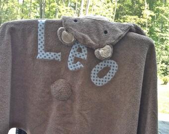 Personalized Hooded Towel- Teddy Bear