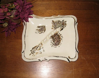 Art Deco Ivory Colored Ashtray With Floral, Paisley & Fans Design / Ceramic Smoker's Gift / Gold Trim