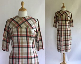 60's Dress / 60s Plaid Dress / 60s Sheath Dress / 60s Day Dress / Plaid Dress /  Mad Men Dress / Sheath Dress