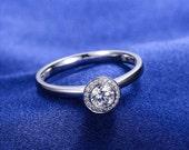 Bezel Set Round Cut Halo Diamond Engagement Ring 14k White Gold or Yellow Gold Art Deco Diamond Ring