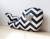 Personalized Whale Pillow, Modern Nautical Nursery Decor, navy chevron, navy and gray